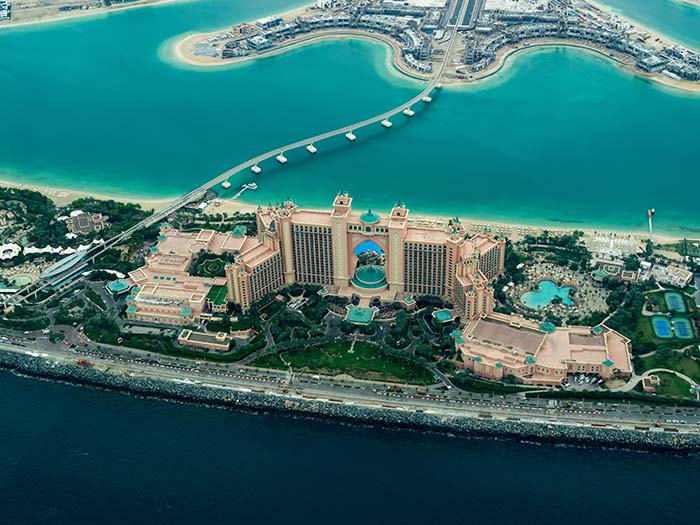 Atlantis Palm Hotel, Dubai von oben