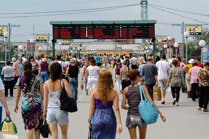 Bahnsteig in Russland