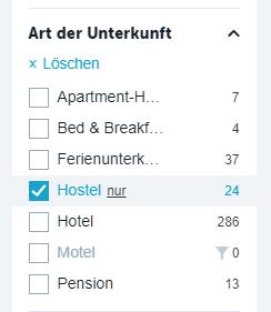 checkfelix hotelsuche filter hostels