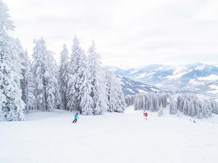 Skifahrer im verschneiten Wald mit Bergen