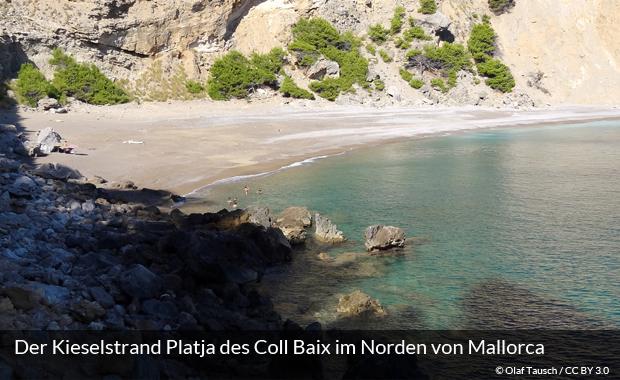 Der Strand Platja des Coll Baix auf Mallorca