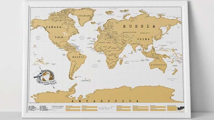 Weltkarte zum Rubbeln als Weihnachtsgeschenk für Weltenbummler
